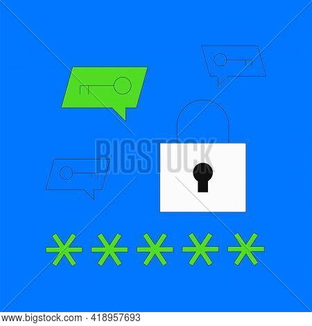 Password Manager Vector Illustration. Lockpad With Password And Keys In Speech Bubble Isolated On Bl
