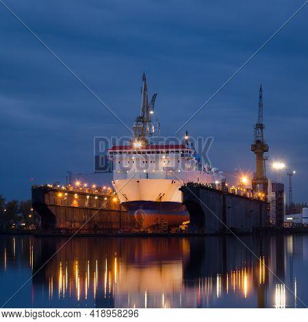 Shipyard - Passenger Ship In Repair Dock
