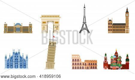 Sights Of Old Europe. Statues And Houses Of Antiquity. Flat Style Vector