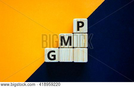 Gmp, Good Manufacturing Practice Symbol. Concept Words Gmp, Good Manufacturing Practice On Cubes On