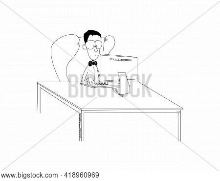 Funny Cartoon Man Or Nerd Boy Sit In Chair At Desk Working On Computer. Funny Guy Clerk Or Student W