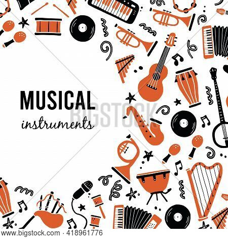 Hand Drawn Banners Template With Musical Instrument, Guitar, Saxophone. Doodle Sketch Style. Vector