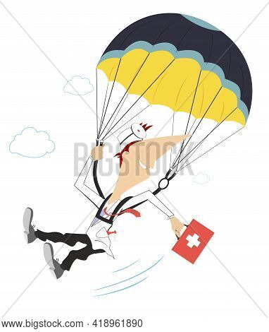 Smiling Doctor A Skydiver Illustration. Cheerfulness Doctor With A Bag Drops By Parachute Isolated O