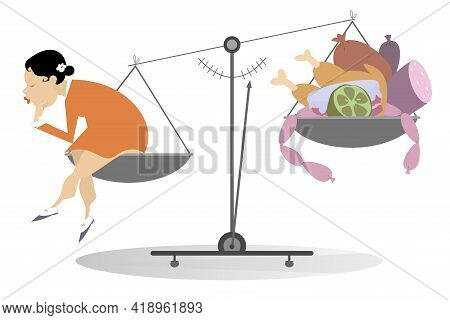 Young Woman, Scales, Unhealthy Food Concept Illustration. Unhealthy Food, Young Woman Sitting On The