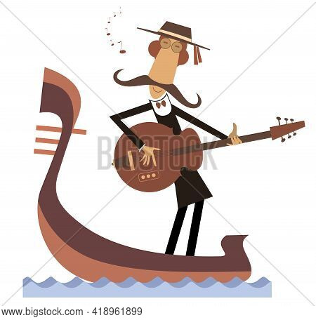 Man With Guitar And Gondola Illustration.  Funny Gondolier With Long Mustaches Rides On Gondola Play