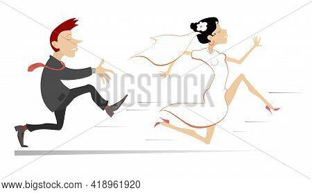 Married Wedding Couple. Bride Runs Away From The Bridegroom Illustration. Upset Bridegroom Trying To