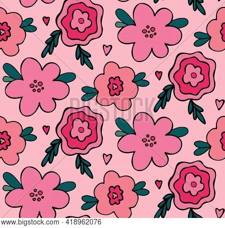 Floral Vector Seamless Pattern With Pink Flowers. Simple Hand-drawn Background In Childish Naive Sty