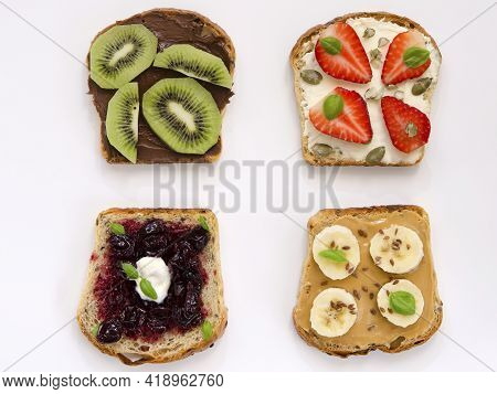 Appetizing Sweet Toasts With Fruit On A White Background
