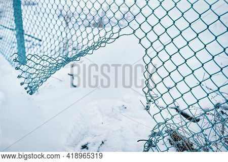 Hole In Wire Border Fence. Unauthorized Entry Is Prohibited. Maximum Security Detention Facility. Il