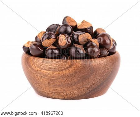 Guarana Seed In Wooden Bowl, Isolated On White Background. Dietary Supplement Guarana, Caffeine Cour