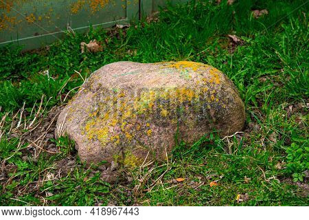 A Large Stone Covered With Moss Lies In The Grass. A Huge Boulder Overgrown With Moss In The Backyar