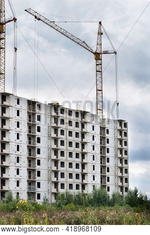 Construction Of Buildings. Multi-storey Residential Construction. Concrete Frame Of The House. Resid