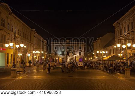 Szeged, Hungary - July 20, 2017: Selective Blur People Walking On The Klauzal Ter Square Near Kossut