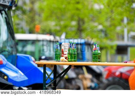Strasbourg, France - April 30, 2021: Beer And Ketchup At Farmer Protest In Front Of Council Of Europ