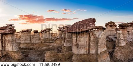 Panoramic Landscape View Of Unique Rock Formation, Hoodoos, In The Desert Of New Mexico, United Stat