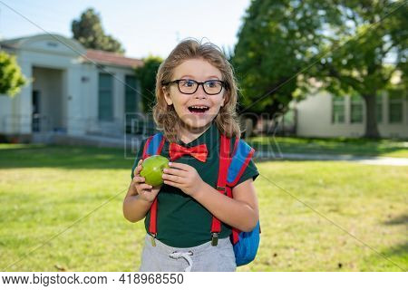 Back To School. Smiling Amazed Pupil From Primary School. First Day Of Autumn Fall.