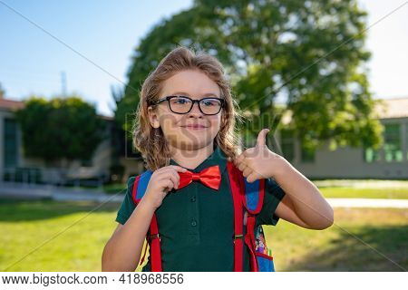 Happy Smiling Schoolboy Pupil In Glasses With Thumb Up Is Going To School. Kid Outdoors Of The Schoo