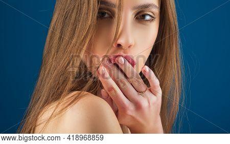 Portrait Of Young Beautiful Hispanic Girl. Beauty Woman Face Portrait. Sensual Lips, Close Up.