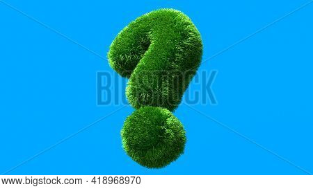 Question Mark Grass Font Isolated On Blue Background. Concept Of Grassed Question Symbol. Metaphor F