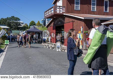 Tauranga New Zealand - April 2 2021; People In Tauranga Historic Village Street During 2021 National
