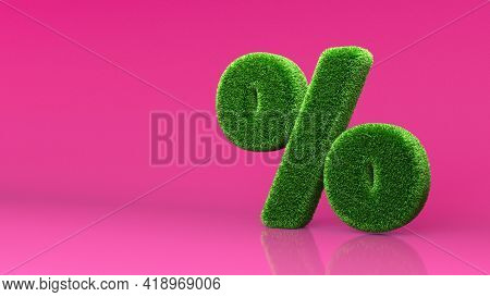 Green Summer Lawn Grass Symbol Isolated On Pink Background. Conceptual Grassed Sign Of Percent. Desi
