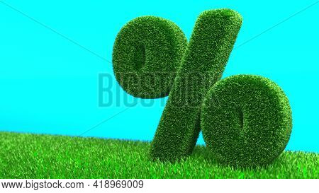 3D Illustration Of Grass Percent Isolated On Blue Background. Design Of Information Related To The E