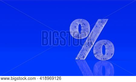 Glossy Glass Ice Percent Sign Isolated On Blue Background. Seasonal Sales Background With Percent Di