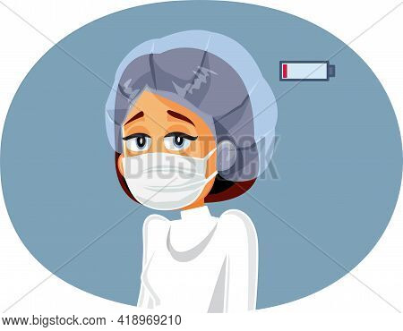Tired Exhausted Medical Doctor Vector Cartoon Illustration