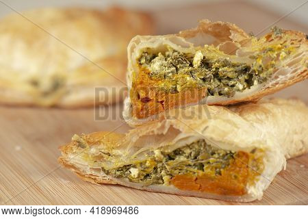 Spinach Triangle With Danish Feta And Pumpkin