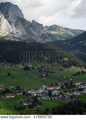 Idyllic Rural Remote Swiss Countryside Alpine Mountain Landscape Panorama In Wildhaus Unterwasser To