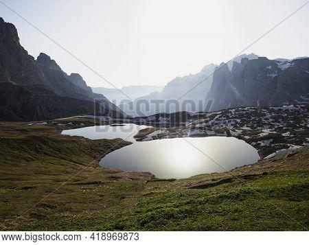Alpine Mountain Panorama Of Laghi Dei Piani Bodenseen Lakes At Tre Cime Di Lavaredo In Sexten Dolomi