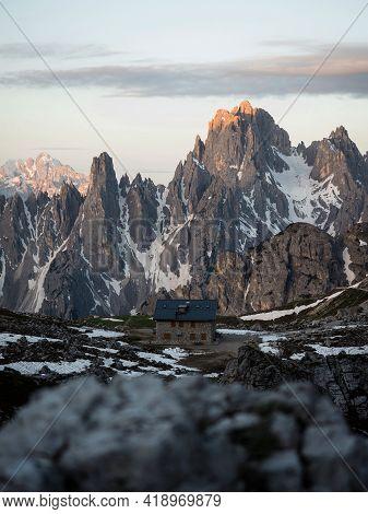 Alpine Panorama Of Rifugio Lavaredo Infront Of Cadini Di Misurina Mountain Range Group Seen From Tre