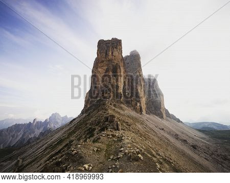 Alpine Panorama Of Tre Cime Di Lavaredo Mountain Peak Summit From Paternsattel Forcella Lavaredo In