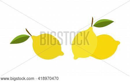 Vector Illustration Of Lemons In Abstract Style, Set Of Lemons
