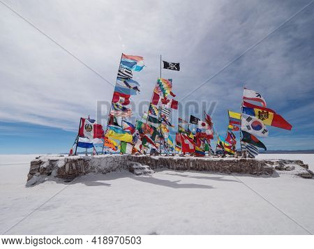 Panorama View Of Various Different Nation Country Flags From All Over The World On Salar De Uyuni Dr