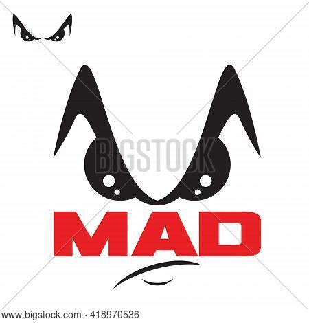 M Letter Mad Symbol Vector A Face Like, Mad Or Angry Expression Concept