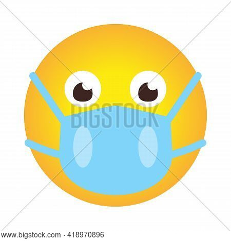Closeup Emoji Icon In Medical Mask. Smile In Cartoon Style As Sign Protect Against Spread Of Coronav