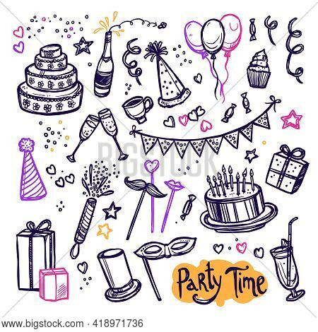 Big Masquerade Birthday Party Celebration Icons Doodle Style Arrangement  Banner With Cake And Wine