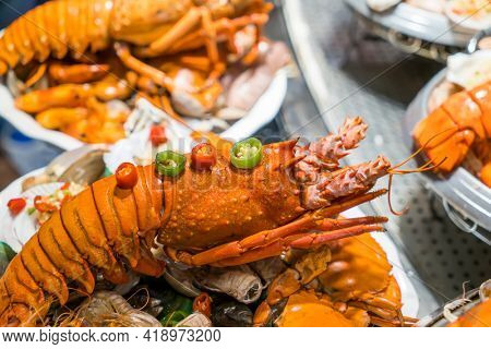 Shellfish plate of crustacean seafood with fresh lobster as an ocean gourmet dinner