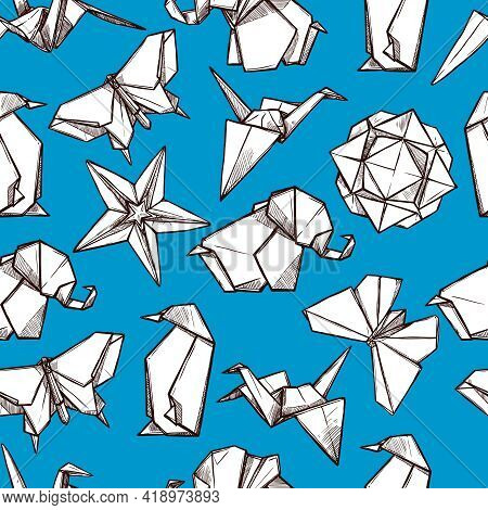 Origami White Paper Folded Figures On Blue Background Souvenirs Presents Wrap Paper Seamless Pattern