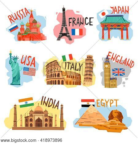 Vacation Sightseeing Tourism Travel Agencies Flat Pictograms Collection With Popular Countries Capit