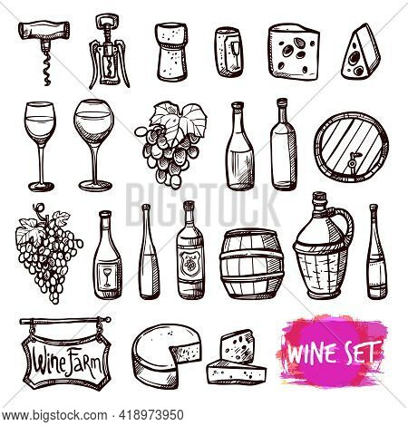 Winery Farm Black Doodle Pictograms Collection For Restaurant Wine Consumption With Cheese Chasers A