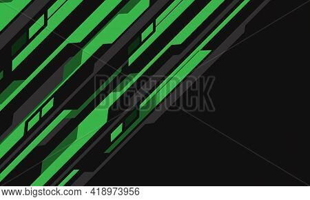 Abstract Green Grey Cyber Circuit Futuristic Dynamic Slash With Blank Space Design Modern Technology
