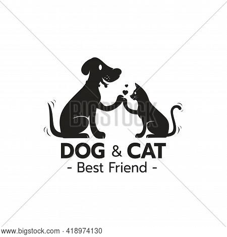 Beautiful Logo Icon Cat And Dog High Five Hand With Heart, Pet Care Logo Concept On White Backgrond