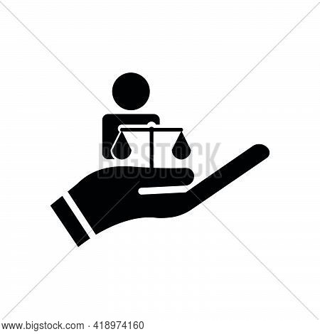 Hand And People Icon With Law. Law Abiding Icon. Editable Stroke. Design Template Vector