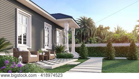 Luxury House In The Beautiful Garden 3d Render,white Doors, Gray Plank Walls And Blue Roof Tiles, De