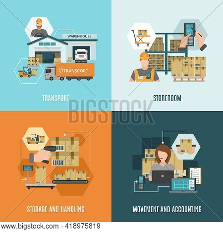Storehouse Facilities And Equipment For Storing Cargo 4 Flat Icons Square Composition Banner Abstrac