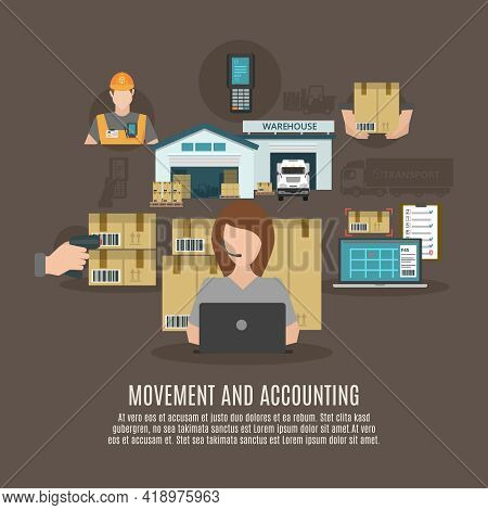 Warehouse Storeroom Facilities Accounting And Goods Moving And Transportation Concept Flat Icons Com