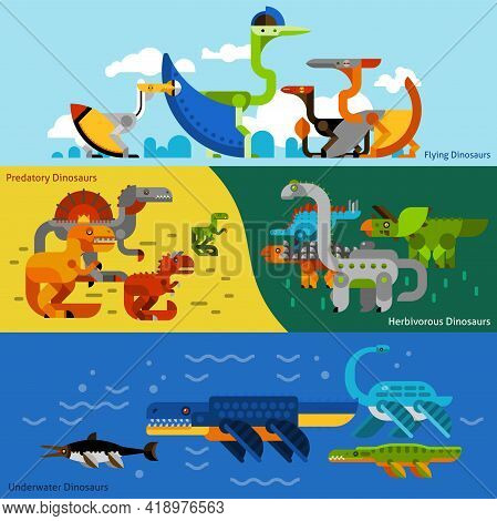 Dinosaurs Horizontal Banners Set With Predatory And Herbivorous Dinosaurs Flat Isolated Vector Illus