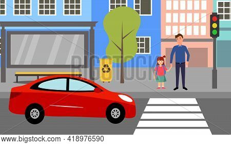 Single Father With Children Waiting For Crossing The Road At Crosswalk With Traffic Light Vector Ill